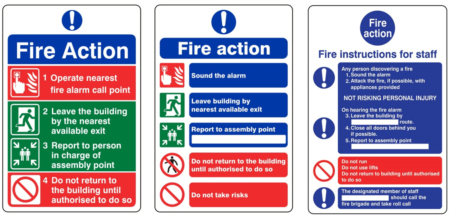 Fire Action Notice Examples 2 Surrey Fire