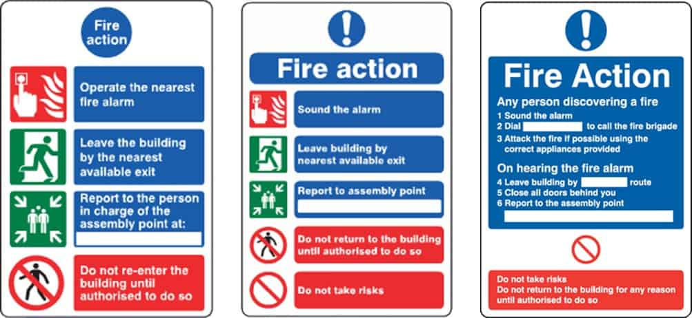 Fire action notice - examples - Surrey Fire
