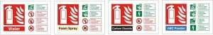 Examples of fire extinguisher ID signs