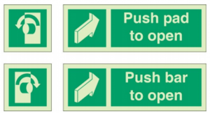 examples of fire door signs with opening instructions