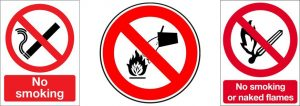 examples of fire safety prohibition signs