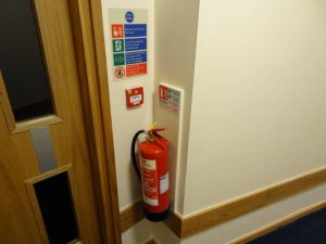 Fire extinguisher locations according to uk fire extinguisher regulations