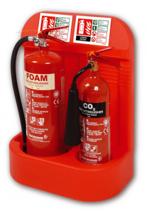 extinguishers in a stand as per uk fire extinguisher legislation