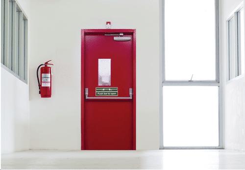 fire door in office hallway