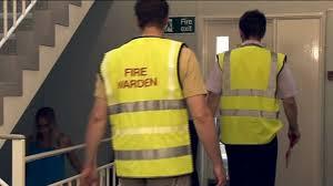 fire wardens in office stairwell